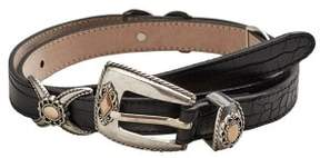 MANGO Crocodile effect belt