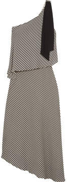 Halston One-shoulder Asymmetric Striped Crepe Midi Dress - Black