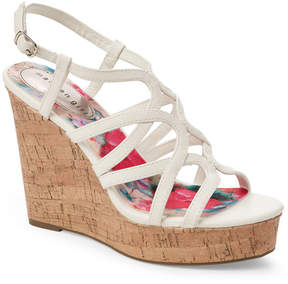 Madden-Girl White Paris Elmaa Cork Platform Wedge Sandals