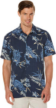 Cubavera Short Sleeve Slim Fit Allover Tropical Print Shirt
