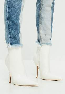 Missguided White Extreme Pointed Croc Print Ankle Boots