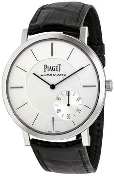Piaget Altiplano Automatic Silver Dial Black Leather Men's Watch