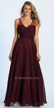 Dave and Johnny Ruched V-neck Chiffon A-line Evening Dress