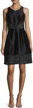 Theia Women's Embroidered Contrast Fit And Flare Dress