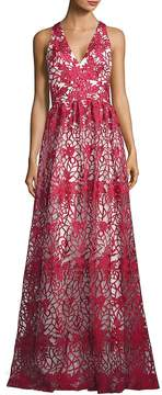 Theia Women's Floral Embroidered Overlay Gown