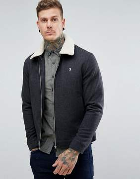 Farah Otley Fleece Collar Wool Jacket in Gray