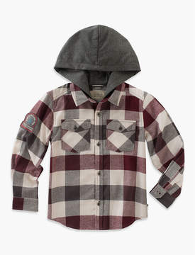 Lucky Brand LONG SLEEVE PLAID SHIRT WITH JERSEY HOOD