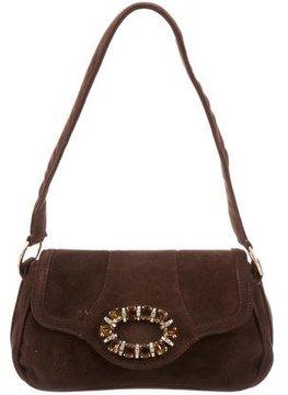 Casadei Crystal Embellished Suede Bag