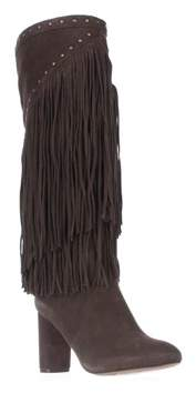 INC International Concepts I35 Tolla Tall Fringe Studded Boots, Mushroom.