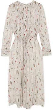 Etoile Isabel Marant Baphir Pleated Printed Silk-crepon Dress - Ecru