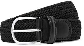 Andersons Anderson's 3.5cm Black Leather-Trimmed Woven Elastic Belt