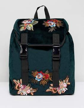 Asos Backpack In Green Velvet With Floral Embroidered Patches