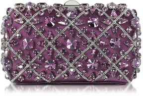 Rodo Purple Silk Tresor Clutch w/Crystals