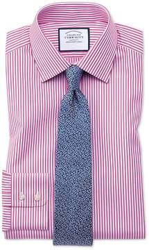 Charles Tyrwhitt Slim Fit Bengal Stripe Pink Cotton Dress Shirt Single Cuff Size 15/33