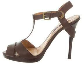 Ralph Lauren Purple Label Leather T-Strap Sandals