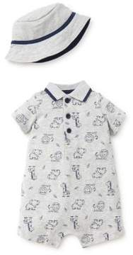 Little Me Baby Boy's Two-Piece Safari Cotton Romper and Hat Set