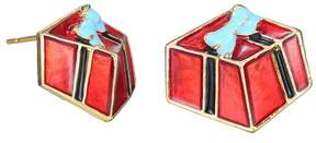 Alpha A A Christmas Gold Tone Red Holiday Gift Box Earring
