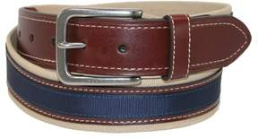 Tommy Hilfiger Men's Canvas with Leather Inlay Casual Belt, 42, Khaki / Brown / Navy