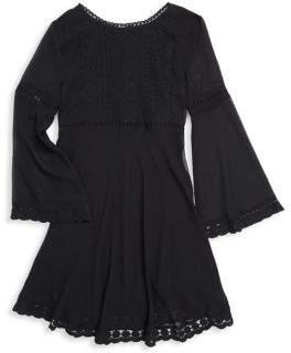 Ella Moss Girl's Lace-Trimmed Chiffon Dress