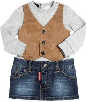 DSQUARED2 Bodysuit W/ Corduroy Vest & Denim Skirt