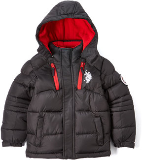 U.S. Polo Assn. Black & Red Hooded Puffer Coat - Toddler & Boys