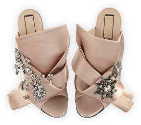 No.21 No. 21 Jeweled Satin 100mm Mule Sandals, Nude