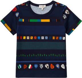Paul Smith Navy Multi Print Plectrum , Cactus and Dice Stripe T-Shirt