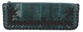 Bottega Veneta Intrecciato-Trimmed Snakeskin Clutch