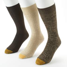 Gold Toe GOLDTOE Men's GOLDTOE 3-pack Johnny Rib Casual Crew Socks