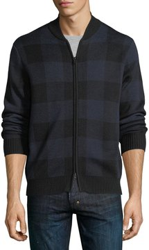 Neiman Marcus Plaid Wool-Blend Bomber Jacket