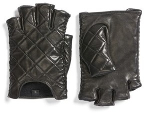 Rebecca Minkoff Women's Quilted Goatskin Leather Fingerless Gloves