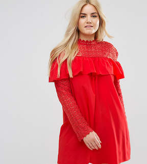 Club L Plus Crochet High Neck Detailed Dress With Long Sleeves.