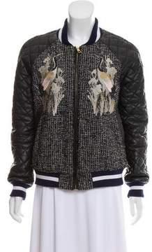Three floor Embroidered Vegan Leather Jacket