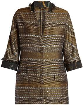 Etro Contrast collar and cuff tweed coat