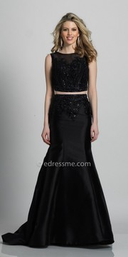Dave and Johnny Beaded Illusion Back Two Piece Trumpet Evening Dress