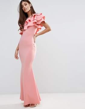 Club L Bridesmaid One Shoulder Ruffle Detail Maxi Dress