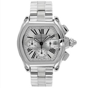 Cartier W62019X6 Men's Roadster Silver Stainless Steel Watch with Chronograph