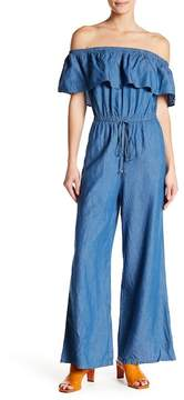Flying Tomato Off-the-Shoulder Chambray Jumpsuit