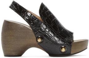 Chloé Black Croc-Embossed Clog Heels