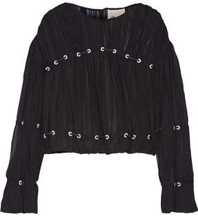 3.1 Phillip Lim Embellished Pintucked Silk-chiffon Blouse - Black