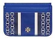 Tory Burch Gemini Link Slim Card Case - JEWEL BLUE GEMINI LINK STRIPE - STYLE