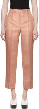 Mansur Gavriel Pink Silk Shantung Trousers