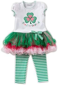 Bonnie Jean Little Girls 2T-6X St. Patricks Day Ruffle Dress & Striped Leggings Set