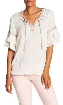 Democracy Embroidered Double Flounce Sleeve Top