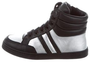 Gucci Boys' Leather High-Top Sneakers w/ Tags