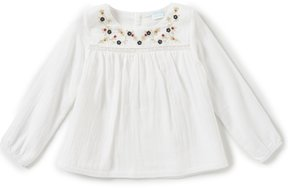 Edgehill Collection Little Girls 2T-6X Long-Sleeve Floral-Embroidered Top