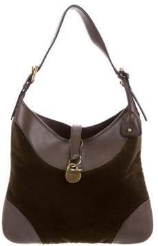 Ralph Lauren Velvet Leather-Trimmed Hobo