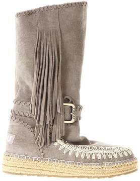 Mou Eskimo Jute Stringed Boots In Suede