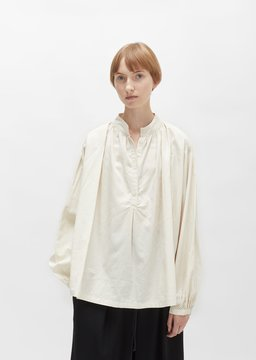 Black Crane Balloon Sleeve Blouse Cream Size: Medium