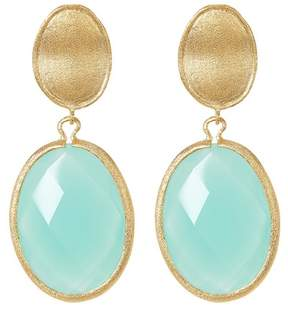 Rivka Friedman 18K Yellow Gold Clad Faceted Mint Chalcedony Crystal Drop Earrings